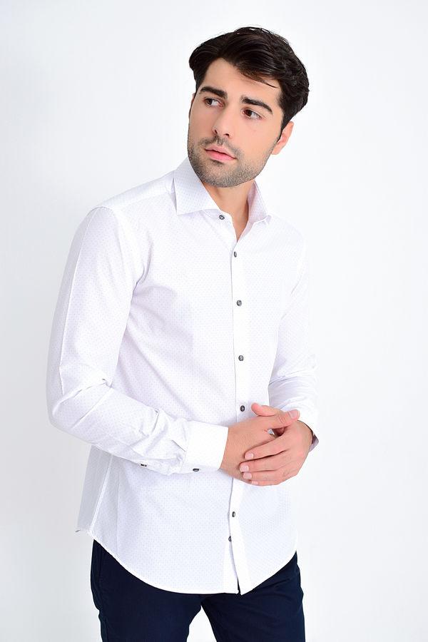 HATEMOĞLU - Gri Baskılı Slim Fit Gömlek