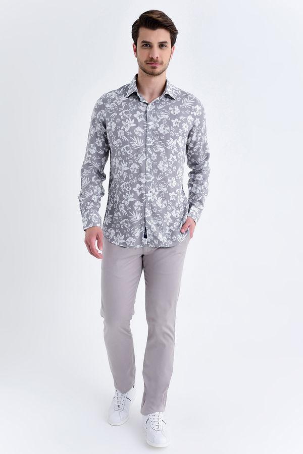 HATEM SAYKI - Gri Baskılı Slim Fit Gömlek (1)