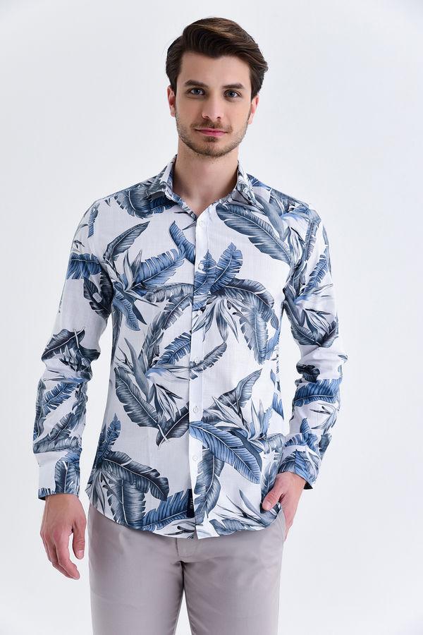 HATEM SAYKI - Gri Baskılı Slim Fit Gömlek