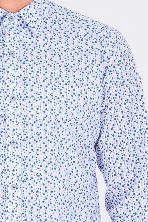 Gri Baskılı Slim Fit Gömlek