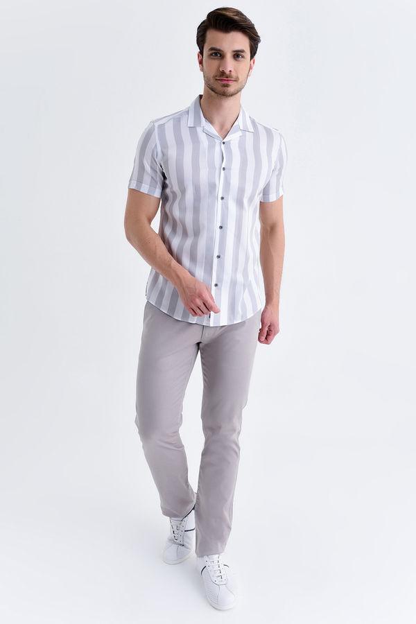HATEM SAYKI - Gri Çizgili Slim Fit Gömlek (1)