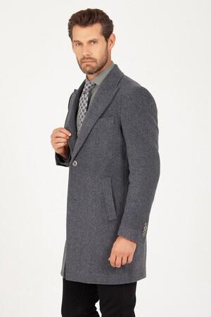 Hatem Saykı - Gri Kırlangıç Yaka Yünlü Palto