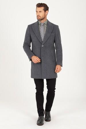 Hatem Saykı - Gri Kırlangıç Yaka Yünlü Palto (1)