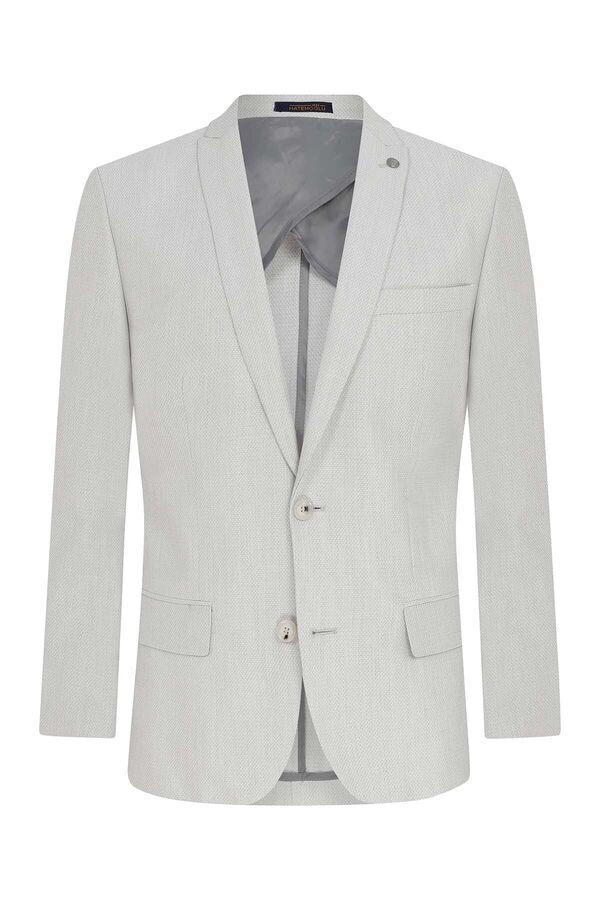 Açık Gri Desenli Slim Fit Ceket
