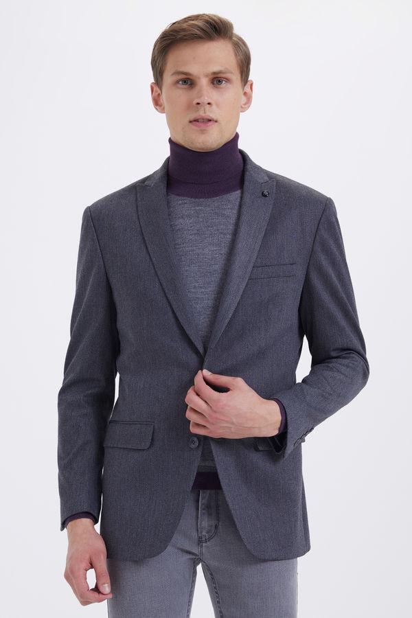 HATEMOĞLU - Gri Desenli Slim Fit Ceket