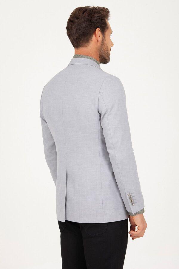 Gri D. Desenli Slim Fit Ceket