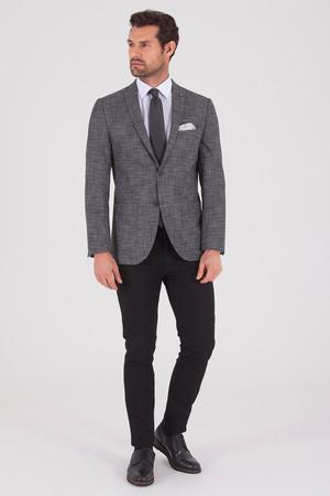 HATEMOĞLU - Desenli Slim Fit Gri Ceket (1)