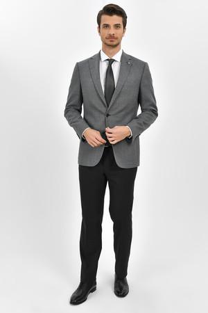 Gri Desenli Slim Fit Ceket - Thumbnail