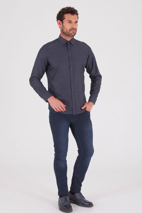 HATEMOĞLU - Gri Desenli Slim Fit Gömlek (1)