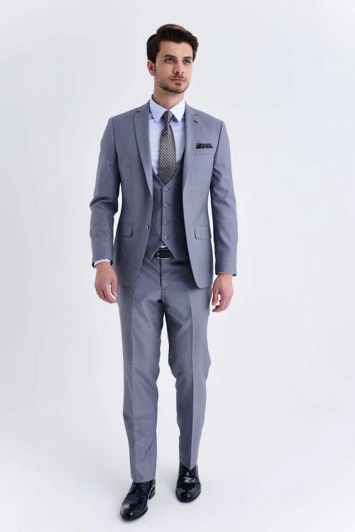 HATEMOĞLU - Gri Desenli Slim Fit Takım Elbise