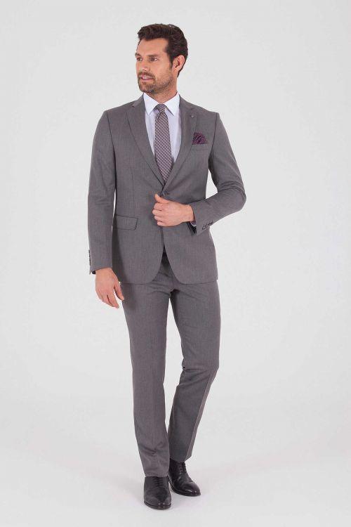 HATEM SAYKI - Gri Desenli Slim Fit Takım Elbise (1)