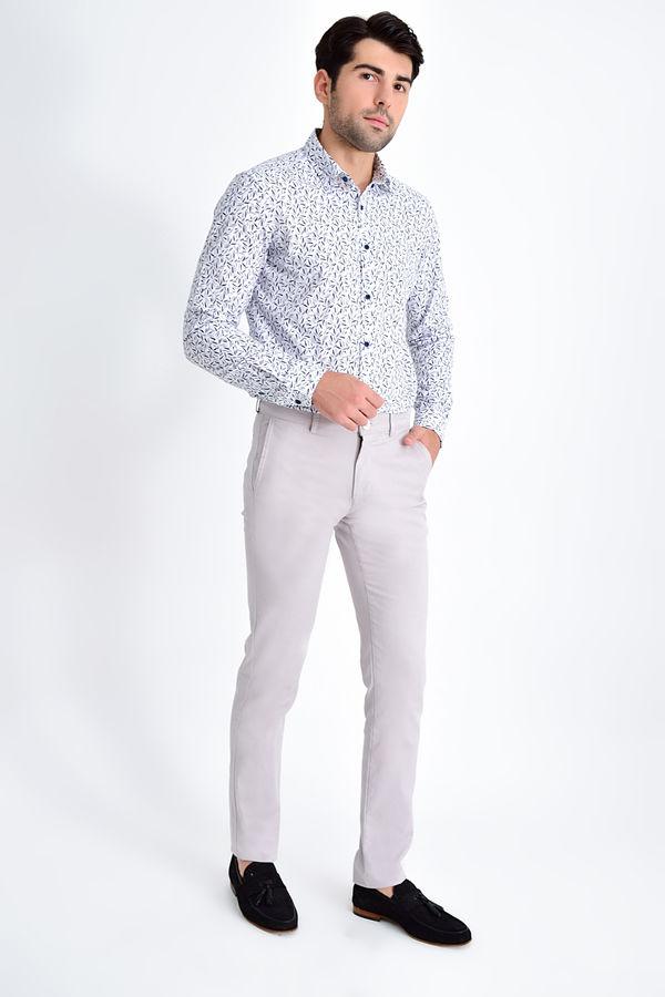 HATEMOĞLU - Gri Desenli Regular Pantolon (1)