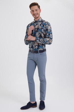 Gri Desenli Slim Fit Pantolon - Thumbnail