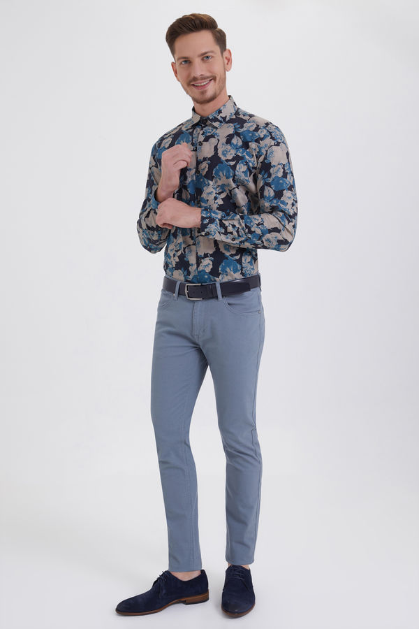 HTML - Gri Desenli Slim Fit Pantolon (1)