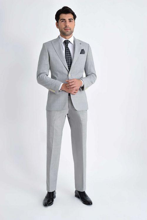 Hatem Saykı - Kareli Slim Fit Gri Takım Elbise