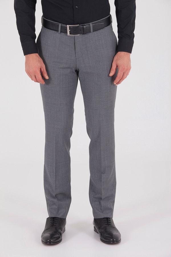 Hatem Saykı - Gri Desenli Slim Fit Pantolon