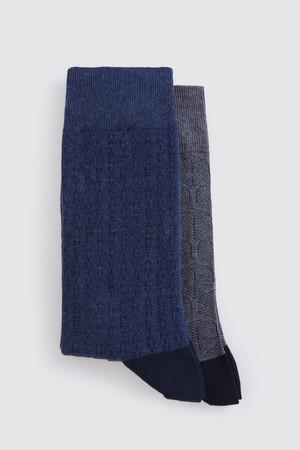 Hatem Saykı - Gri - Mavi 2'li Çorap