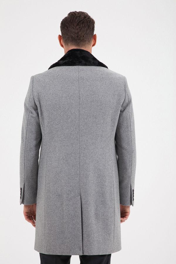 Gri Kürklü Palto