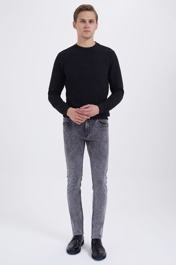 HTML - Gri Melanj Desenli Slim Fit Pantolon (1)