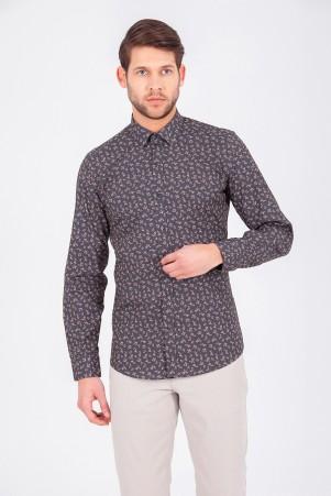 Hatem Saykı - Haki Baskılı Slim Fit Gömlek