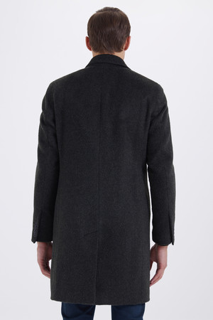 Haki Ceket Yaka Yünlü Palto - Thumbnail