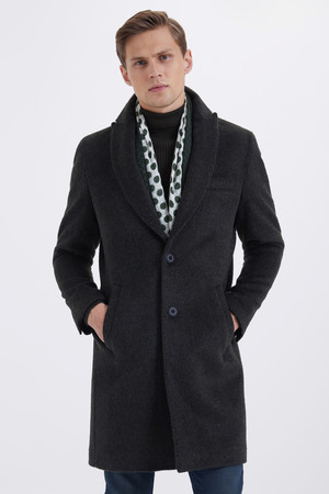 Hatem Saykı - Haki Ceket Yaka Yünlü Palto