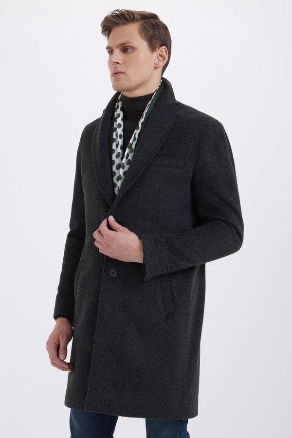 Haki Ceket Yaka Yünlü Palto