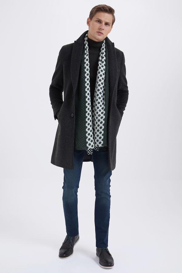 Hatem Saykı - Haki Ceket Yaka Yünlü Palto (1)