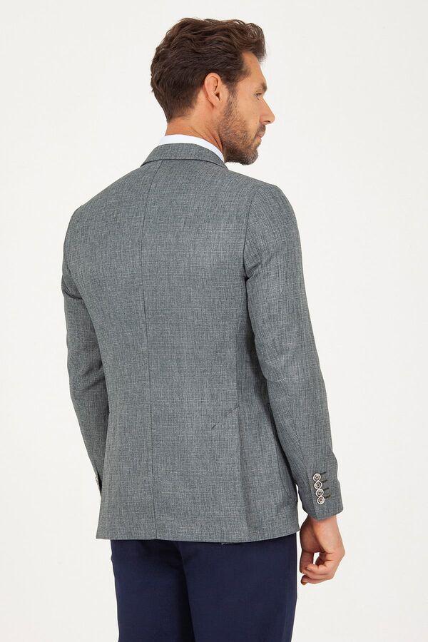 Haki D. Desenli Slim Fit Ceket