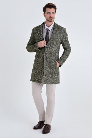 HTML - Haki Yünlü Desenli Palto (1)