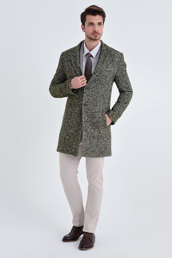 Haki Yünlü Desenli Palto