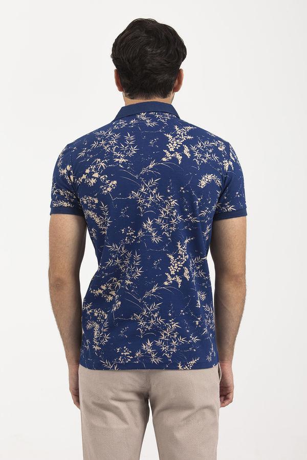 Indigo Baskılı Polo Yaka T-shirt