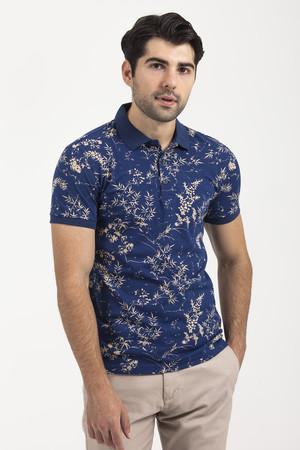 Indigo Baskılı Polo Yaka T-shirt - Thumbnail