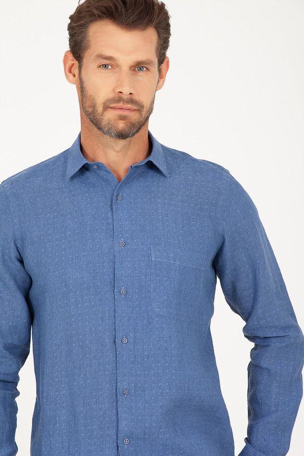 Regular Fit Mavi Desenli Keten Gömlek