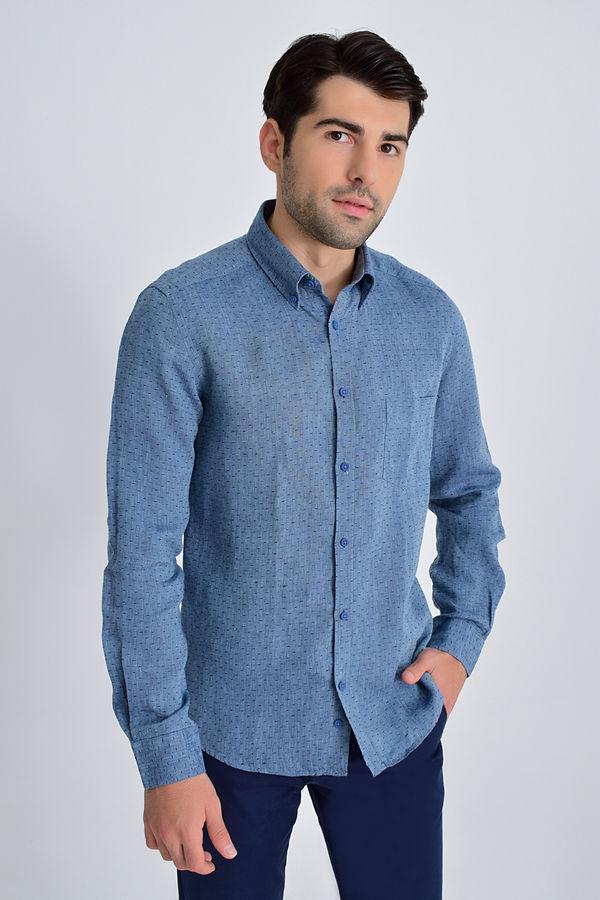 HATEM SAYKI - Indigo Desenli Slim Fit Gömlek