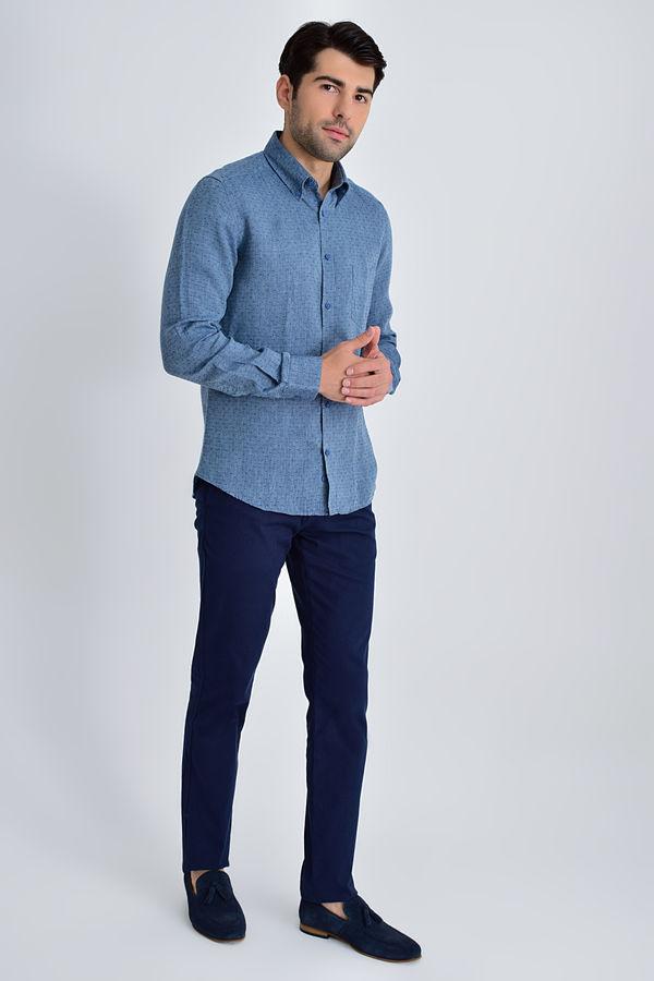 HATEM SAYKI - Indigo Desenli Slim Fit Gömlek (1)