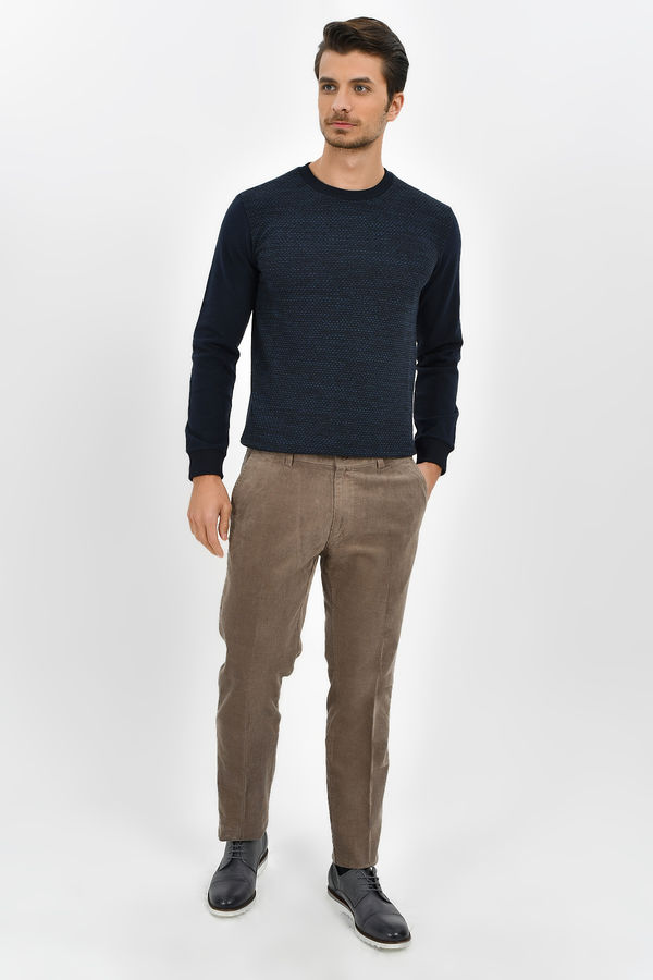 Hatem Saykı - Bej Slim Fit Kadife Pantolon (1)