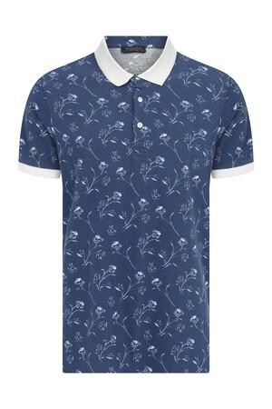 Hatem Saykı - İndigo Baskılı Polo Yaka Tişört