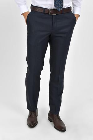 Lacivert Kareli Slim Fit Pantolon - Thumbnail