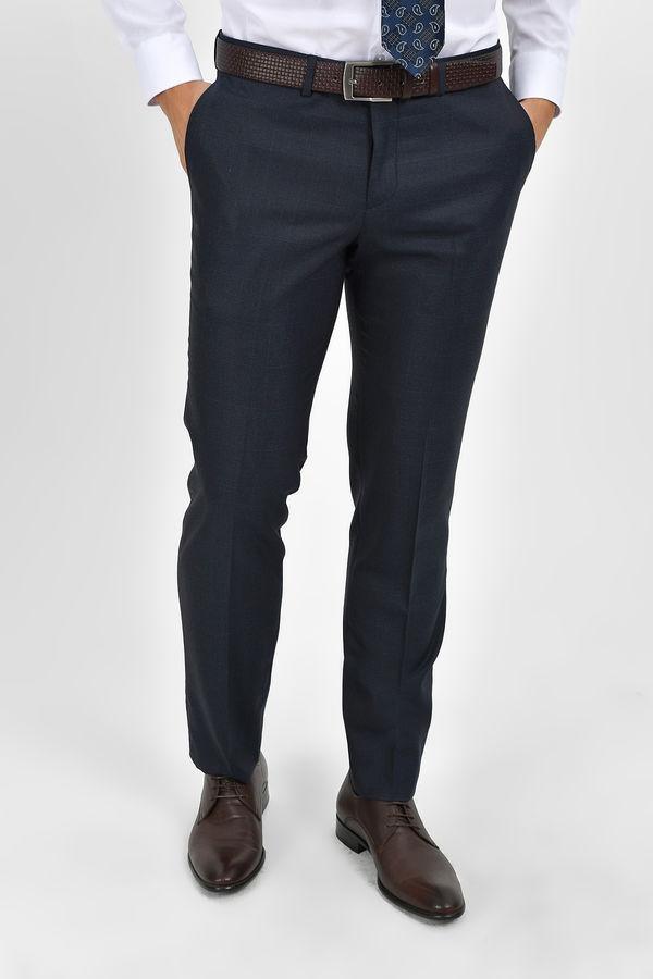 Hatem Saykı - Lacivert Kareli Slim Fit Pantolon
