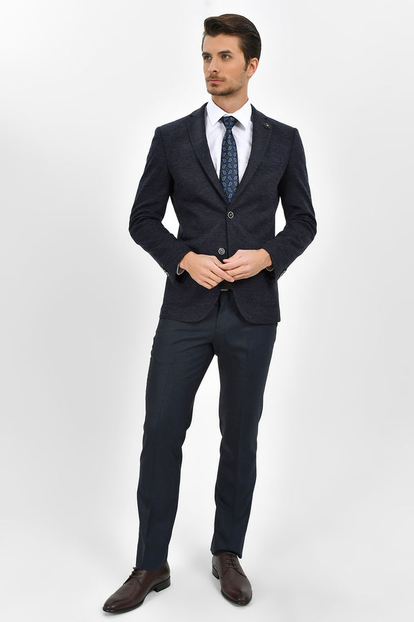Hatem Saykı - Lacivert Kareli Slim Fit Pantolon (1)