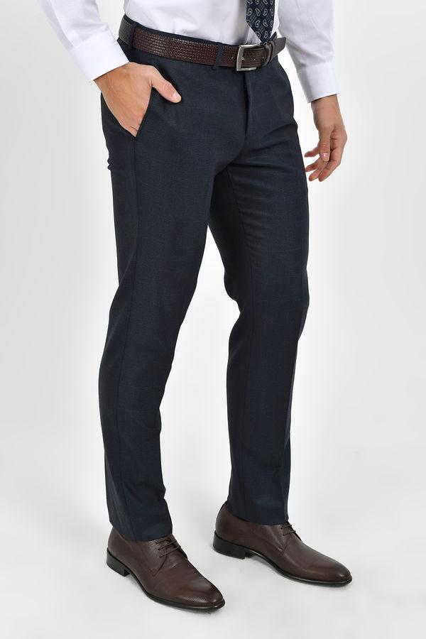 Lacivert Kareli Slim Fit Pantolon