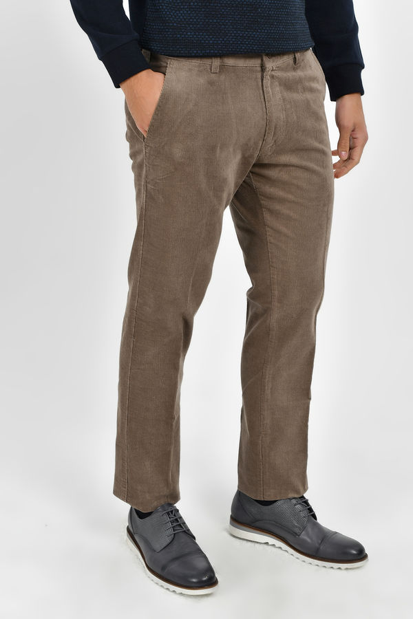 Bej Slim Fit Kadife Pantolon