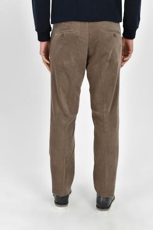 Bej Slim Fit Kadife Pantolon - Thumbnail