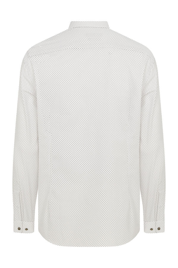 Hatemoğlu - Slim Fit Desenli Kahverengi Spor Gömlek (1)