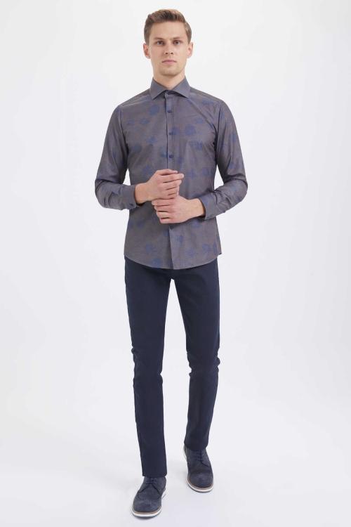 HTML - Kahverengi Baskılı Slim Fit Gömlek (1)