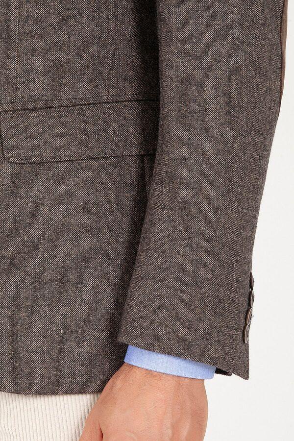 Kahverengi Slim Fit Yünlü Ceket