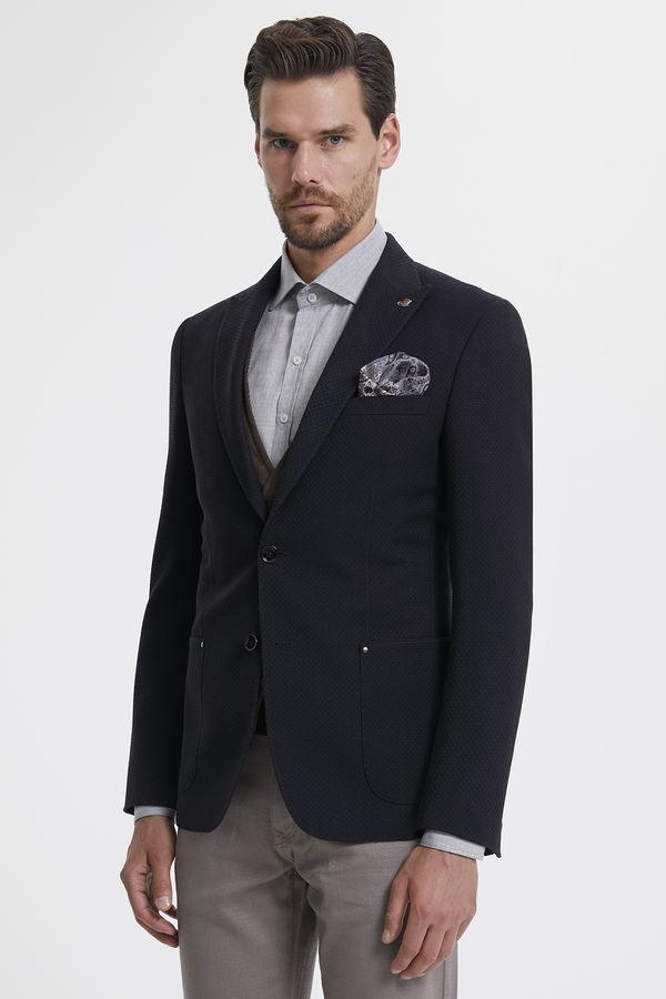 Hatem Saykı - Kahverengi Desenli Slim Fit Ceket