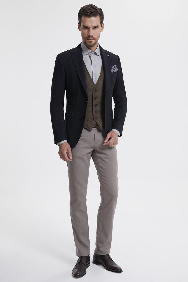Hatem Saykı - Kahverengi Desenli Slim Fit Ceket (1)