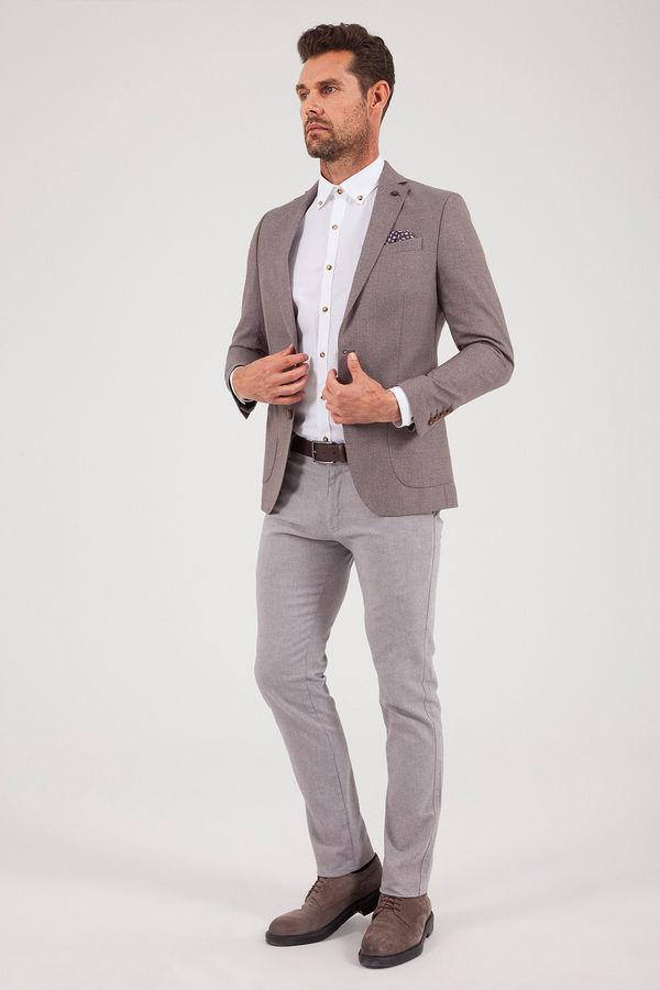 Hatemoğlu - Desenli Slim Fit Kahverengi Ceket (1)